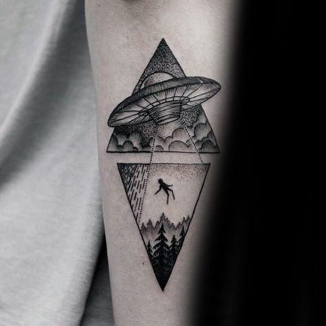 Forearm Guys Alien Triangle Tattoos