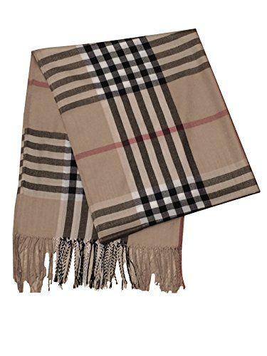 Camel Beige Black Red Stripe Plaid Pashmina Scarf//Shawl//Wrap