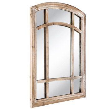 Brown Window Pane Wood Wall Mirror Mirror Wall Wood Wall Mirror