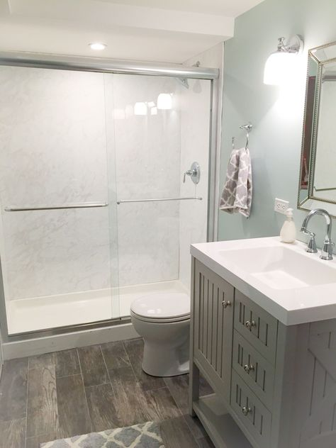 Diy How We Made A Bathroom In Our Basement Without Breaking Concrete Frugal Family Times In 2020 Broken Concrete Small Basement Bathroom Basement Bathroom