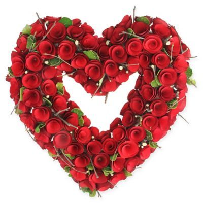 Northlight 14 Wooden Rose Valentine S Day Heart Wreath Red Valentine Day Wreaths Wooden Roses Wreaths