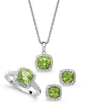Fine Jewelry Diamond Accent Green Peridot Round Sterling Silver Pendant SY4rhk