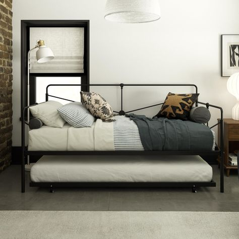 Queer Eye Leopold Metal Daybed with Trundle, Black, Twin/Twin Size - Walmart Finds This daybed has modern angular lines gilding its arms and back with rounded corners, a rich black solid metal frame with supportive slats, and an oh so convenient trundle. #walmartfinds #walmarthome #daybed #trundlebed #kidsbed