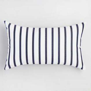 Sunbrella Indigo Lido Stripe Outdoor Patio Lumbar Pillow Blue