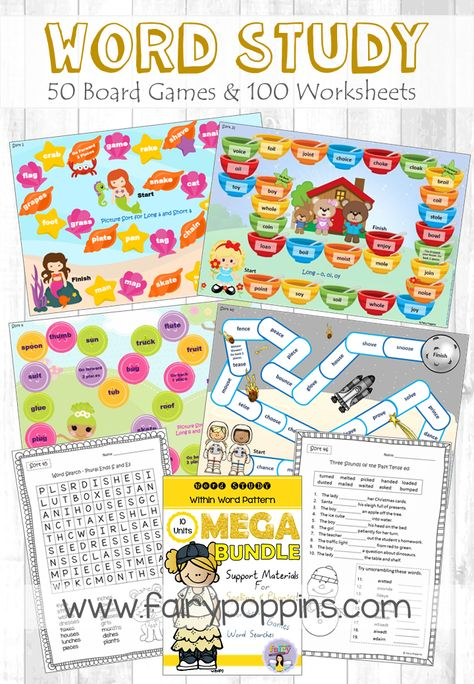 Word Study Games Worksheets Within Word Pattern Mega
