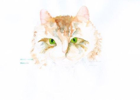 Cat Watercolor Original Painting Print White Green Animal Art