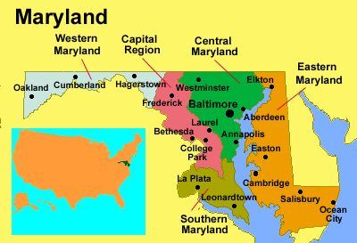 Maryland Map Geography Of Maryland Map Of Maryland Worldatlascom - Maryland on us map
