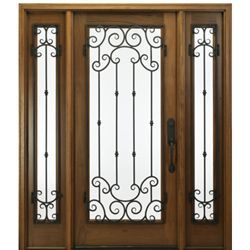 Shop For Mai Doors A78f 1 2 Mon Wood Door With Wrought Iron Square Top Exterior Door And 2 Sidelites With A Monticel Exterior Doors Wood Doors Aluminium Doors