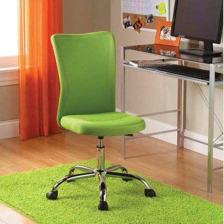 Armless Desk Chair Ergonomic Cute Green Height Adjustable Office Chair Modern Comfortable Student Kids Adjustable Office Chair Girls Desk Chair Cute Desk Chair