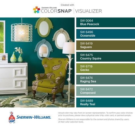 I found these colors with ColorSnap® Visualizer for iPhone by Sherwin-Williams: Blue Peacock (SW 0064), Oceanside (SW 6496), Saguaro (SW 6419), Country Squire (SW 6475), Gecko (SW 6719), Raging Sea (SW 6474), Composed (SW 6472), Really Teal (SW 6489).