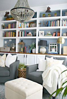 Dark Bookshelves Interiors Trend | Cupboard doors, White trim and ...
