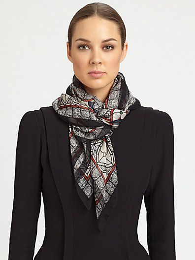 Silk Square Scarf - Silk gold black ethno by VIDA VIDA ZiooZ