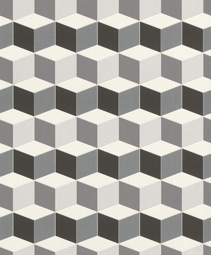 3d Effect Geometric Square Wallpaper Paste Wall Vinyl Black White Uptown Modern Geometric Pattern Wallpaper White Wallpaper Pattern Wallpaper