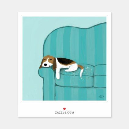 Cute Beagle Sleeping On Couch Fun Dog Lover S Sticker Zazzle