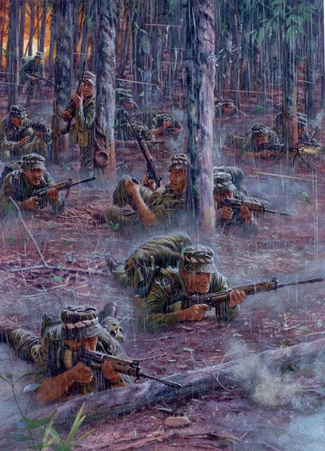 On 18 August 1966 at Long Tan, South Vietnam, elements of D Company, Battalion, The Royal Australian Regiment made contact with what would turn out to be a regiment of Viet Cong supported by at least a battalion of North Vietnamese Army forces