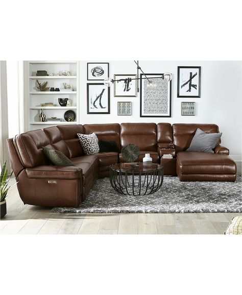 Furniture Myars Leather Power Reclining Sectional Collection