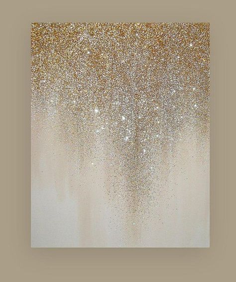 Glitter Art Painting Acrylic Abstract Original Art on Canvas by Ora Birenbaum Beach Shabby Chic Titled: Shimmer 4 24x30x1.5"