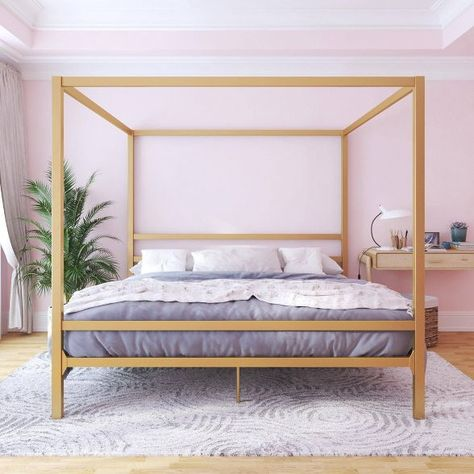 King Briella Metal Canopy Bed Gold Room & Joy in 2020