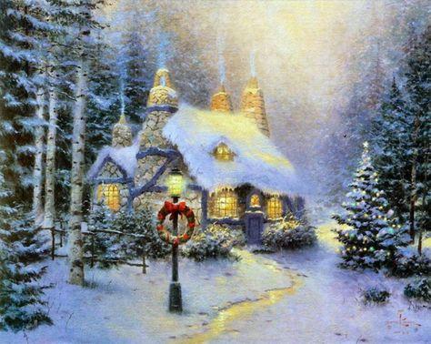 Thomas Kinkade - Christmas Snow Cottage