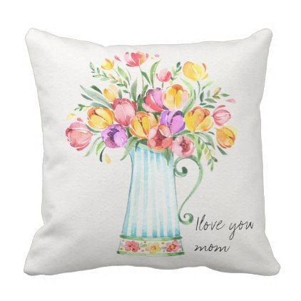 Mother 39 S Day Tulip Flowers Throw Pillow Floral Style Flower Flowers Stylish Diy Personalize Pillows Floral Throw Pillows Watercolor Tulips Flowers