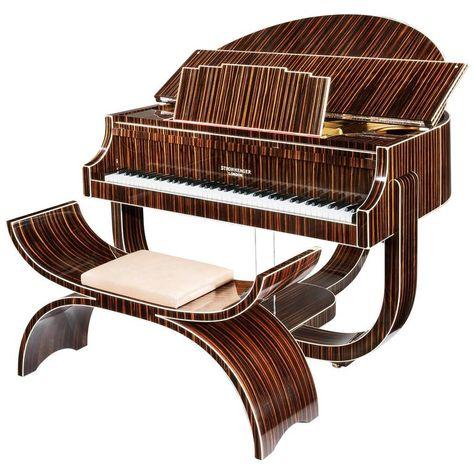 J. Strohmenger & Sons - Boudoir Grand Piano Strohmenger 1938 British Art Deco Leather, Macassar