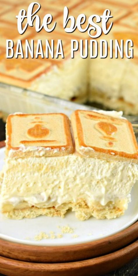 This creamy rich banana pudding recipe is a delicious no bake dessert! perfect for weeknights or potlucks everyone will love this classic recipe! grandma s best dessert recipes Banana Pudding Ingredients, No Bake Banana Pudding, Banana Pudding Desserts, Homemade Banana Pudding, Banana Dessert Recipes, Banana Recipes No Bake, Chessman Banana Pudding, Healthy Banana Pudding, Pastries