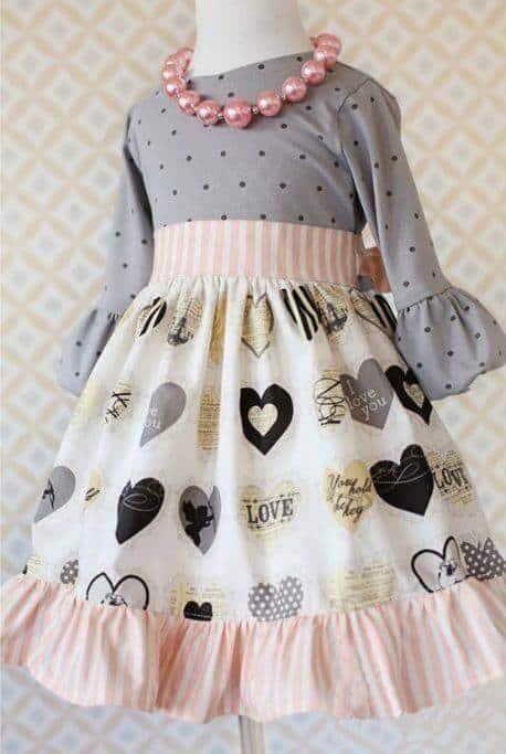Girl's Vintage Heart Dress - 2T