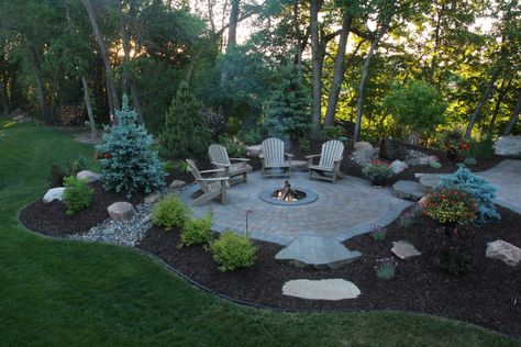 patio with built in fire pit