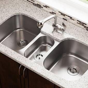 Premiere Gourmet 41 L X 22 W Top Mount Triple Bowl Kitchen Sink In 2021 Undermount Kitchen Sinks Stainless Steel Kitchen Sink Undermount Stainless Steel Kitchen Sink