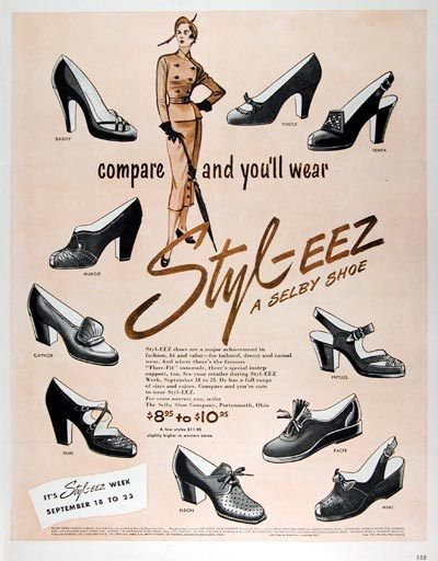 1950s ad for Vitality shoes for women | Vintage shoes, 1950