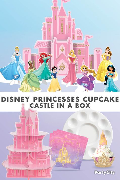 Build a Disney Princesses Cupcake Castle in a Box Disney Princess Cupcakes, Princess Theme Party, Princess Birthday, 6th Birthday Parties, 1st Birthday Girls, Birthday Ideas, Sugar Sprinkles, Color Swirl, Pink Sugar