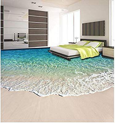Lhdlily 3d Wallpaper Mural Strand Schone Kustenlandschaft 3d Boden Wasserdicht Boden Mural Malerei 3d Bodenbelag Badezi Fototapete 3d Dekor Schlafzimmer Design