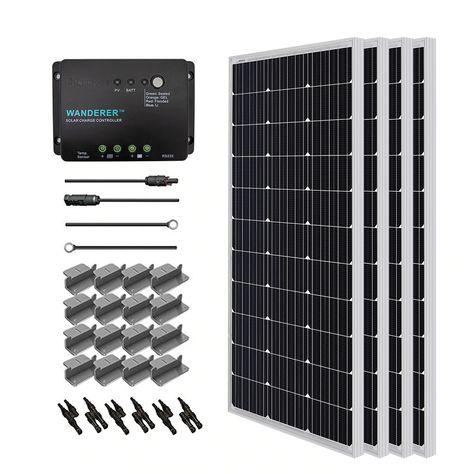 Renogy 400 Watt 12 Volt Monocrystalline Solar Starter Kit for Off-Grid Solar System - RNG-KIT-STARTER400D-WND30