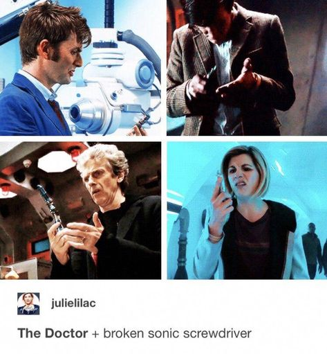 The Doctor + broken sonic screwdriver Doctor Who Funny, Doctor Who Quotes, Doctor Who Tumblr, David Tennant, Sherlock, Supernatural, 13th Doctor, Twelfth Doctor, Hello Sweetie