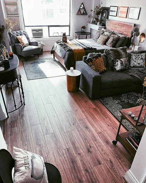 Before & After: My Studio Apartment in Downtown Seattle — Moda Misfit Apartment Room, Apartment Inspiration, Small Studio Apartment Decorating, Studio Living, Apartment Layout, Studio Apartment Living, Studio Apartment Decorating, Apartment Design, Apartment Interior