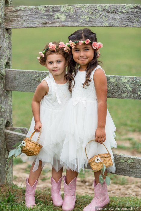 7145ad31a766f Barn theme wedding + flower girl attire + cowgirl boots - flower ...