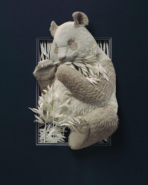 Low relief paper sculptures by Calvin Nicholls