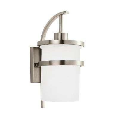 Eternity 1 Light Brushed Nickel Outdoor Wall Mount Lantern With Led Bulb Outdoor Wall Lantern Outdoor Wall Lighting Outdoor Walls