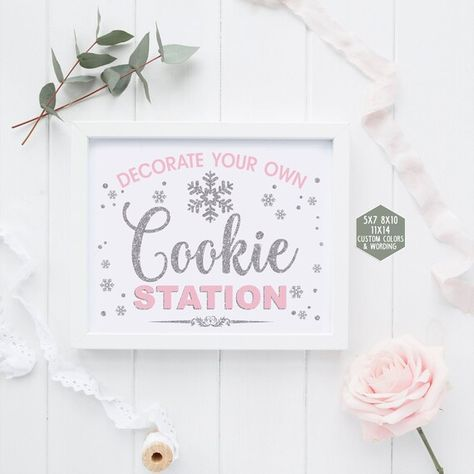 Cookie station sign printable, winter onederland decorations, pink and silver first birthday party,