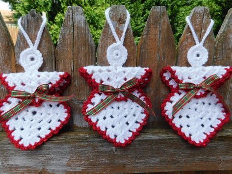 Crochet Christmas Angel set of 3,Crochet Christmas Ornament set 0f 3,Crochet Christmas Decoration,Ch