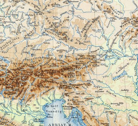 Map Of Germany With Mountains And Rivers.1895 German Vintage Map Of Central Europe Mountains And Rivers