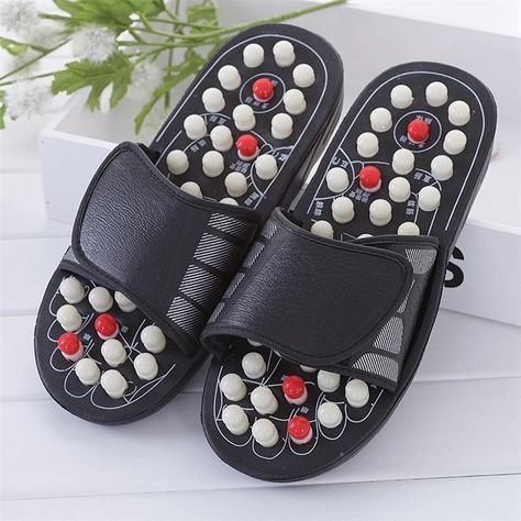 On your feet all day?Refresh tired, sore, plantar fasciitis feetwith a pair of Acupressure Massage Slipper.Promotes better blood flowto enhance overall health.Designed tosoothefoot/ heel pain&tension due to arthritis, neuropathyand other ailments. FEATURES: Speeds upHealingof wounds EliminatesToxins St