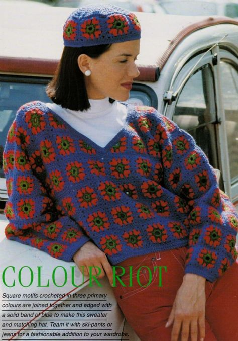 PDF Digital Vintage Crochet Patter Ladies Sweater Jumper and Hat Granny Squares Double Knitting yarn Bust cm Knit Fashion, 70s Fashion, Vintage Fashion, Fashion Outfits, Crochet Jumper, Knit Crochet, Crochet Granny, Vintage Crochet Patterns, Pdf Patterns