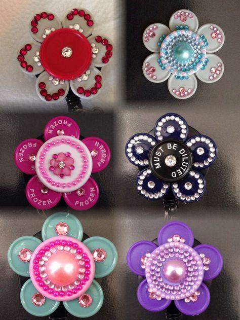 Medication Vial Top Purple Flip Off Flower Retractable Badge Holder