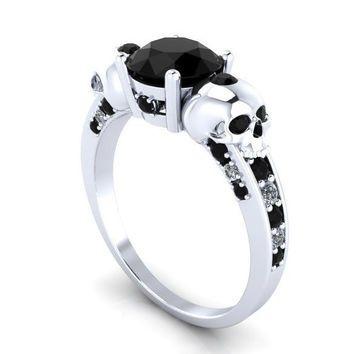 Skull Engagement Ring in Solid 14 k Gold Genuine Black Diamonds