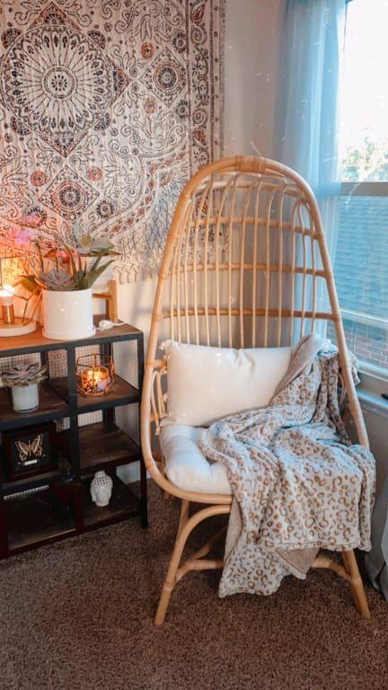 Natural Rattan Fallon Cocoon Chair With Cushion World Market In 2020 Rattan Chair Living Room Chair Swinging Chair #world #market #living #room #chairs