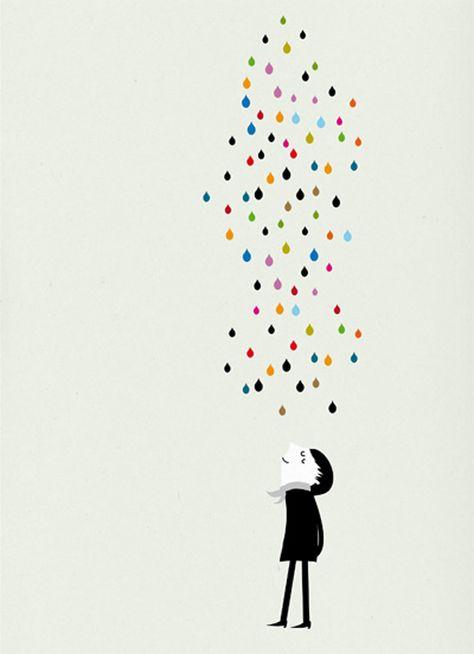 Monsieur under the rain print. blancucha cosas minimas by Blanca Gomez via Etsy.