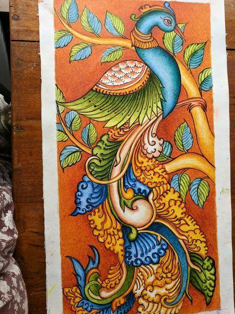 Best Painted Bird Sculpture 28 Ideas Kerala Mural Painting Mural Painting Peacock Painting