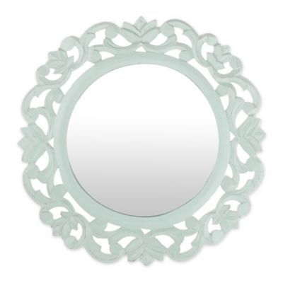 Marmalade 15 Inch Round Carved Mirror In Sage Green In 2020 Round Mirror Frame Mirror Round Mirrors