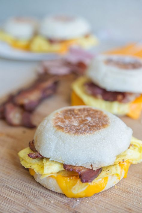 "Make-Ahead and Freeze Breakfast Sandwiches - I like that she makes egg crepes instead of an ""egg puck"" as she calls it!"